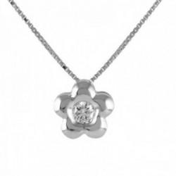 Colgante con cadena Oro Blanco 18k modelo Tu Diamante (1 diamante 2,60mm. 0,07 kltes.)cadena 43cm.