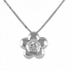 Colgante con cadena on Oro Blanco 18k modelo Tu Diamante (1 diamante 3,25mm. 0,14cts.) cadena 43cm.