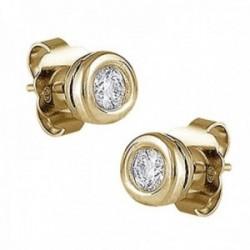 Pendientes Oro Amarillo 18k modelo Atenas (2 diamantes brillantes 4,00mm. 0,52cts.) Medida: 8,10mm.