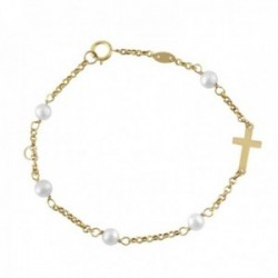 Pulsera Oro Amarillo 18k modelo Bracelets (5 Perlas Cultivadas 4,5mm.) Medida: 17cm.