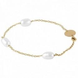 Pulsera Oro Amarillo 18k modelo Bracelets (3 perlas cultivadas perilla 9×10,5mm.) Medida: 18cm.