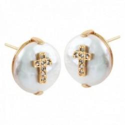Pendientes Oro Amarillo 18k modelo Sofía (14 diamantes 1,00mm. 0,08 cts.) (2 perlas coin 12-13mm.)