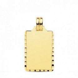 Colgante oro 18k chapa rectangular 24mm. borde tallado unisex