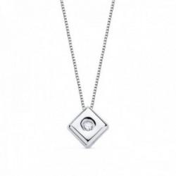 Colgante oro blanco 18k chatón diamante brillante 0.02ct. cadena 42cm. mujer