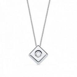 Colgante oro blanco 18k chatón diamante brillante 0.07ct. cadena 42cm. mujer