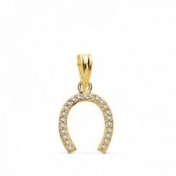 Colgante oro 9k herradura 12mm. amuleto suerte circonitas mujer