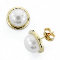 Pendientes oro 9k media perla sintética 10mm. cierre presión mujer