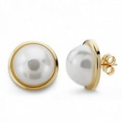 Pendientes oro 9k media perla sintética 16mm. cierre presión mujer