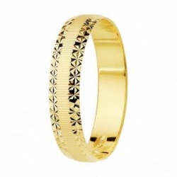 Alianza oro 18k centro mate bordes diamantados 4mm. unisex