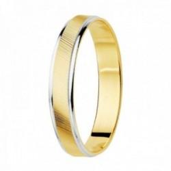 Alianza oro 18k bicolor centro estrías bordes brillo 3.5mm. unisex