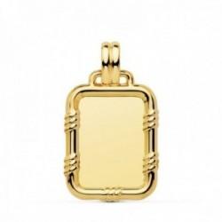 Colgante oro 18k chapa rectangular 26mm. borde unisex