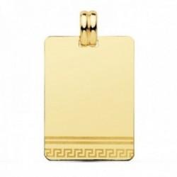 Colgante oro 18k chapa rectangular 28mm. greca láser unisex