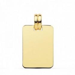 Colgante oro 18k chapa rectangular 20mm. lisa unisex