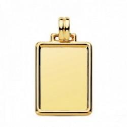 Colgante oro 18k chapa rectangular 29mm. lisa marco unisex