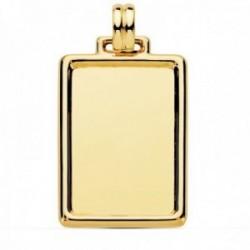Colgante oro 18k chapa rectangular 31mm. lisa marco unisex
