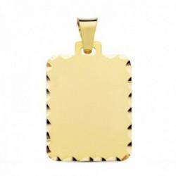 Colgante oro 18k chapa rectangular 28mm. tallada mate unisex