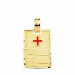 Colgante oro 18k chapa rectangular 20mm. cruz roja grupo sanguineo RH unisex