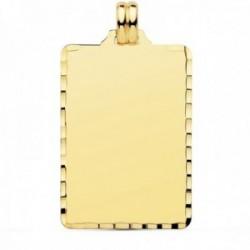 Colgante oro 18k chapa rectangular 36mm. tallada unisex