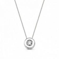 Colgante oro blanco 18k chatón diamante brillante 0.15ct. cadena 42cm. mujer