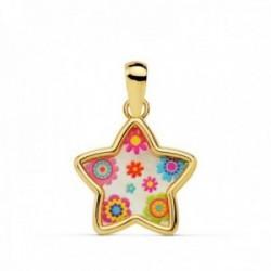 Colgante oro 18k estrella 13mm. nácar flores colores mujer