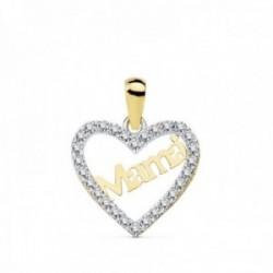 Colgante oro 18k bicolor MAMÁ corazón 15mm. circonitas mujer