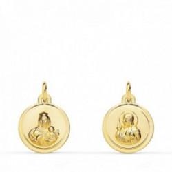 Medalla oro 18k colgante escapulario 12mm. Virgen del Carmen Corazón de Jesús bisel unisex