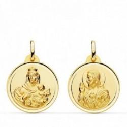 Medalla oro 18k colgante escapulario 20mm. Virgen del Carmen Corazón de Jesús bisel unisex