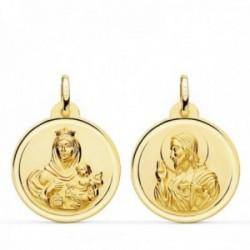 Medalla oro 18k colgante escapulario 22mm. Virgen del Carmen Corazón de Jesús bisel unisex