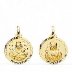 Medalla oro 18k colgante escapulario 18mm. Virgen del Carmen Corazón de Jesús cerco tallado unisex