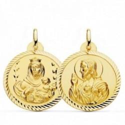 Medalla oro 18k colgante escapulario 26mm. Virgen del Carmen Corazón de Jesús cerco tallado unisex