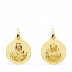Medalla oro 18k colgante escapulario 16mm. Virgen del Carmen Corazón de Jesús lisa unisex