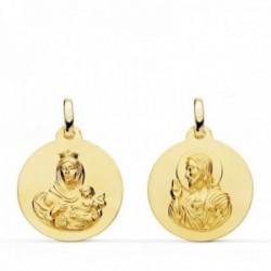 Medalla oro 18k colgante escapulario 18mm. Virgen del Carmen Corazón de Jesús lisa unisex