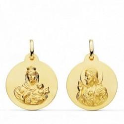 Medalla oro 18k colgante escapulario 20mm. Virgen del Carmen Corazón de Jesús lisa unisex