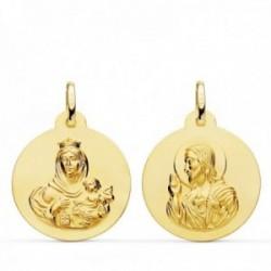 Medalla oro 18k colgante escapulario 22mm. Virgen del Carmen Corazón de Jesús lisa unisex