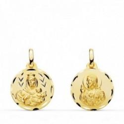 Medalla oro 18k colgante escapulario 16mm. Virgen del Carmen Corazón de Jesús tallada unisex