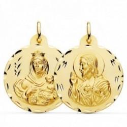 Medalla oro 18k colgante escapulario 30mm. Virgen del Carmen Corazón de Jesús tallada unisex
