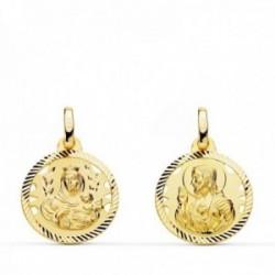 Medalla oro 18k colgante escapulario 16mm. Virgen del Carmen Corazón de Jesús cerco tallado unisex