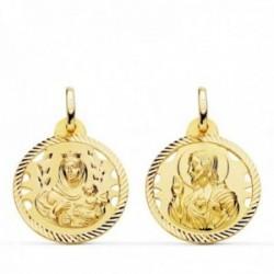 Medalla oro 18k colgante escapulario 20mm. Virgen del Carmen Corazón de Jesús cerco tallado unisex
