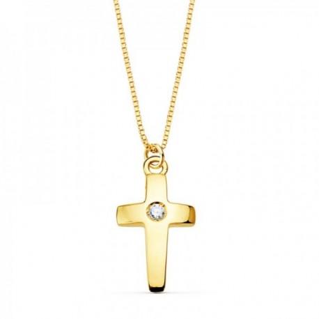 Colgante oro 18k cruz 11mm. diamante brillante 0.015ct. cadena veneciana 45cm. mujer
