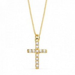 Colgante oro 18k cruz 11mm. diamantes brillantes 0.09ct. cadena veneciana 45cm. mujer