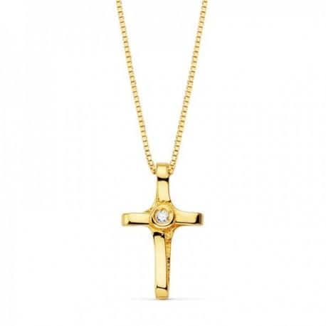 Colgante oro 18k cruz 12mm. diamante brillante 0.010ct. cadena veneciana 45cm. mujer