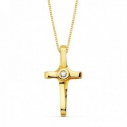 Colgante oro 18k cruz 16mm. diamante brillante 0.015ct. cadena veneciana 45cm. mujer