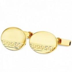 Gemelos oro 18k greca oval 18mm. brillo mate hombre