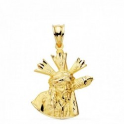 Colgante oro 18k medalla Cristo Gran Poder 24mm. silueta unisex