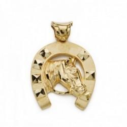 Colgante oro 18k herradura 32mm. caballo reasa forma montura unisex