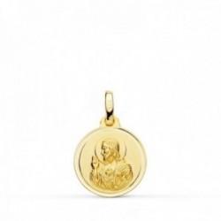 Colgante oro 18k medalla 14mm. Corazón de Jesús bisel unisex