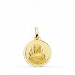 Medalla oro 18k colgante 16mm. Corazón de Jesús bisel unisex