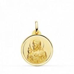 Medalla oro 18k colgante 20mm. Corazón de Jesús bisel unisex