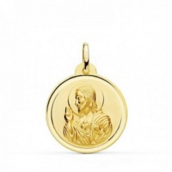Medalla oro 18k colgante 22mm. Corazón de Jesús bisel unisex
