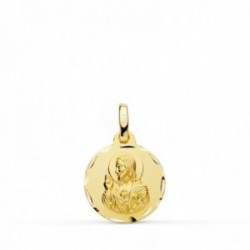 Medalla oro 18k colgante 14mm. Corazón de Jesús cerco tallado unisex